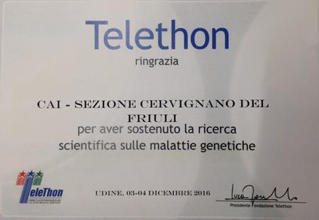 Telethon attestato 2016